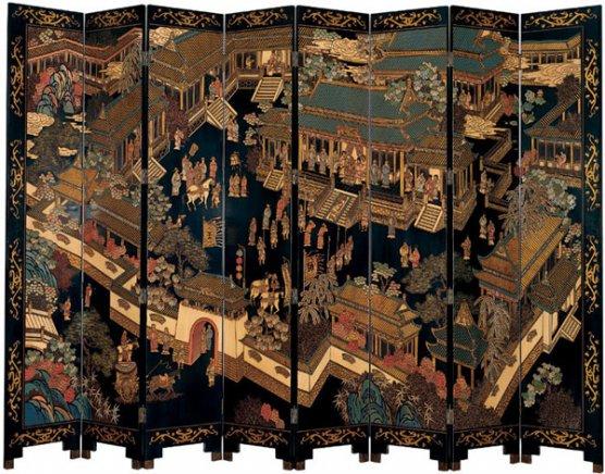Коромандельская ширма с изображением дворцовых сцен династии Мин